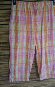 Pink Orange Yellow Plaid Lounge Pants Sz XL